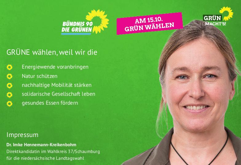 Landtagswahl 2017: Am 15.10. Imke Hennemann-Kreikenbohm wählen!